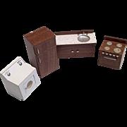 4 Pc. Vintage Wood Dollhouse Kitchen Set Miniature Stove Frig Sink Washer Dryer Appliances