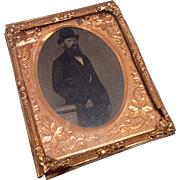 Antique Tintype Photograph Picture Ornate Ormolu Frame for Dollhouse Doll Miniature Portrait