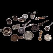 SOLD Miniature Dollhouse Doll Kitchen Metal Accessories Utensils Pots Pans Pitcher Tray etc.