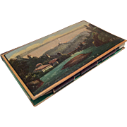 Antique French Scenic Papier Mache Miniature Notebook Note Book Calling Card Case as Doll Acce