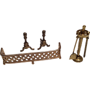 SOLD Metal Fireplace Accessories Tools Andirons Dollhouse Doll Miniature