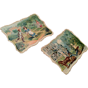 2 Antique Miniature Paper Print Picture Set for Dollhouse Doll