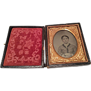 Beautiful Lady Victorian Tintype Photograph Portrait Picture in Ornate Ormolu Frame for Antiqu