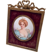 Antique Miniature Painting Portrait Queen Princess Ornate Brass Velvet Frame