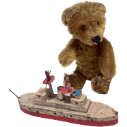 """SOLD 5"""" Schuco Perfume Bear with His Toy Boat - Great Doll Size Miniature"""