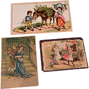3 Antique Miniature Print Picture Doll or Dollhouse Size