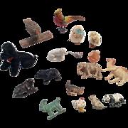 SOLD Miniature Dollhouse Doll Animal Group Metal Wood Glass Celluloid German Poodle Bear Bird