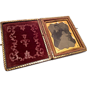 Lovely Antique Victorian Tintype Photo in Frame and Case for Doll or Dollhouse Lady holding Ba