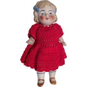 SOLD German All Bisque Doll Crochet Red Dress