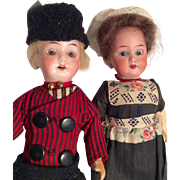2 German Bisque All Original Doll Pair Dutch Boy and Girl