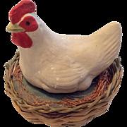 SALE Papier Hen on Basket Nest Candy Container Box