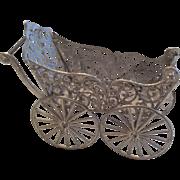 SOLD Antique Miniature Soft Metal Dollhouse Doll Carriage Pram