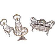4 Pc. Antique Soft Metal Miniature Dollhouse Doll Settee Table and Chairs