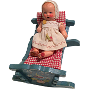 German All Bisque Baby and Wood Hand Painted Doll Cradle Rocker with Bedding