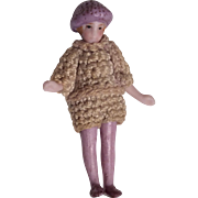 """SOLD Tiny 2"""" All Bisque Flapper Doll Crochet Clothes Molded Tam Hat"""
