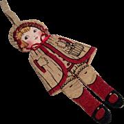 Adorable Cloth 1920s Flapper Doll Purse Felt Body Silk Face