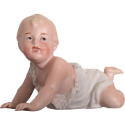 German All Bisque Crawling Baby G. Heubach Signed Piano Baby Doll