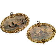 SOLD The Best - Set of 2 German Ormolu Frame Ornate Dollhouse Doll Miniature Picture Print Ant