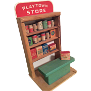 SOLD Vintage Dollhouse Doll Wood Store Playtown with 18 Original Wood Food Wares
