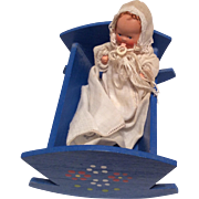 SOLD All Bisque German Baby Doll with Dollhouse Miniature Wood Painted Cradle