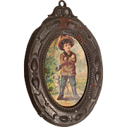 Antique Miniature Dollhouse Doll Picture Boy and Dog in Tin Frame