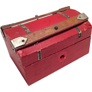 Red Antique Doll Steamer Trunk Papered Wood
