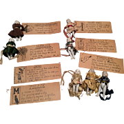 """SOLD 7 German 2.25"""" All Bisque Doll Group with Names and Poems"""