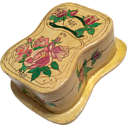REDUCED Antique French Papier Mache Box Dated 1898 Paris for Doll Trunk