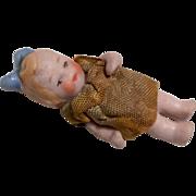 SOLD Tiny German All Bisque Doll Original Dress