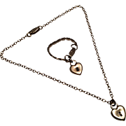 Vintage Doll Heart Shaped Faux Padlock Necklace Bracelet Jewelry Set