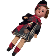 SOLD Tiny German Bisque Doll All Original Scottish Clothes Outfit Miniature Dollhouse Size