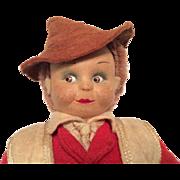 Cloth Character Googly Man Felt Clothes Chubby Lenci Type Vintage Mystery Doll