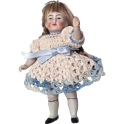 SOLD German All Bisque Doll Crochet Dress Antique Dollhouse Size