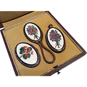 Enamel Perfume Scent Bottle Compact Hand Mirror Set in Fitted Original Presentation Box Miniat