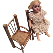 2 Vintage Bamboo Doll Miniature Bend Wood Chair Set