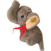 Adorable Steiff Elephant with Button and Tag in Ear