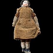 "Tiny 4"" Antique China Head Dollhouse Doll on Original Cloth Body"
