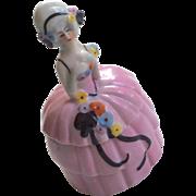 Lovely Lady Half Doll Style Antique Powder or Trinket Box German Glazed Bisque Dresser Item