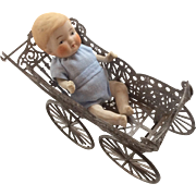 All bisque Baby Doll in Metal Miniature Antique Doll Carriage Pram