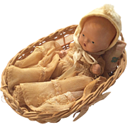 US Zone Germany Basket with All Bisque Storybook Baby Doll