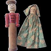 2 Vintage Wood Primitive Folk Art Cloth Face Doll Toy