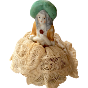 Tiny Miniature Pin Cushion Doll Size Half Doll