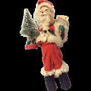 Vintage Christmas Santa Claus Doll with Miniature Bottle Brush Tree