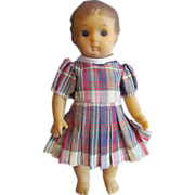 "Sweet Vintage 11 l/2"" Early Softlaid Soft Vinyl Child Doll, circa 1950s"