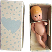 "Adorable 4 l/4"" Antique Kerr & Hinz Painted Bisque Baby in Original Box"
