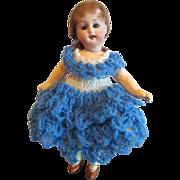"Charming Antique 6 ½"" Antique Bisque Head, Composition Body Girl Doll, Herm Steiner, German"