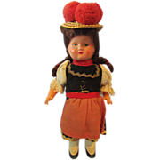 "Interesting Vintage German 6"" Celluloid & Plastic Key-Wound Ethnic Doll"