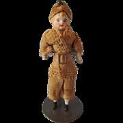"""Antique 5"""" Marked Original German Bisque Shoulderhead Child Doll, 1910"""