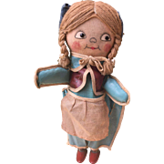 """Fantastic and Unusual 12"""" Vintage Cloth and Oilcloth Key Wound Doll"""