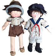 SALE Pair of 1970's Raine Crawford Cloth Dolls